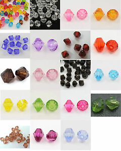 30g app. 400 Acrylic Plastic Faceted Bicone Beads 6mm Jewellery Making Crafting
