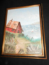 Vintage Primitive Painting of Shack and Sea Sailboat Clouds Nice Frame