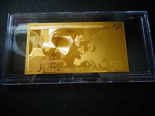 24 KARAT GOLD 50 EURO € -European Union MONEY *2002 *BILL COMES IN ACYLIC HOLDER