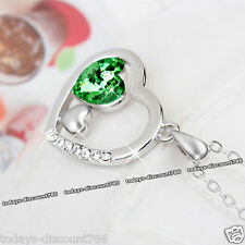 Love Heart Emerald Green Crystal Necklace Xmas Silver Gifts For Her Wife Women