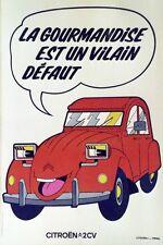 """""""CITROËN 2CV"""" Affiche originale entoilée offset années 70 42x62cm"""
