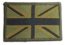 EMBROIDERED BRITISH FLAG PATCH velcro GB cloth badge UK Military Army green