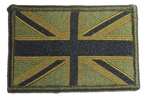 EMBROIDERED BRITISH FLAG PATCH hook and loop cloth badge UK Military Army green