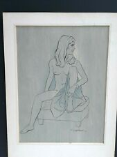 Original Pin Up Ink Drawing By Simon Vanderlaan Listed Artist SV54