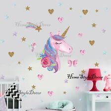 Magical Unicorn Horse Rainbow Hearts Wall Stickers Children Home Decor Decal UK