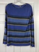 VINCE womens size S blue gray black horizontal striped long sleeved blouse top