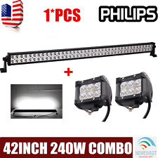 PHILIPS 42inch 240W Combo Led Work Light Bar Driving Truck Boat+2X18W Flood Pods