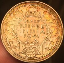 British India 1941 1/2 half rupee, Bombay mint High Grade- Toned - See Pics