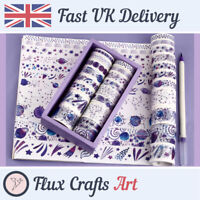 24pcs Paper Washi Tape Pack Purple Space Star Signs Sky Decorative Flux Crafts