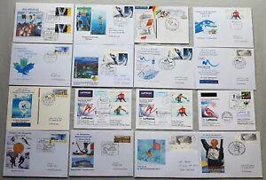 Deutschland BRD 32 versch Belege Marke Wintersport Eishockey Ski Alpin