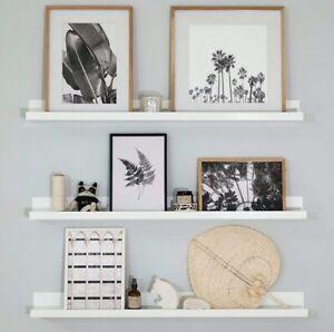 3x Floating Picture Shelves White Wooden Storage Shelves Modern Home Decor 91cm