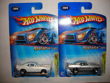 2005 HOT WHEELS FIRST EDITIONS 1969 PONTIAC FIREBIRD T/A LOT OF 2 WHITE SILVER