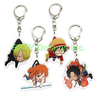 Set of 4 One Piece Anime Acrylic Keychain Portgas D. Ace Monkey Luffy Nami Sanji