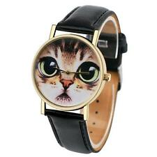 Fashion Women Watch Cat Pattern Leather Band Analog Quartz Vogue Wrist Watch UK