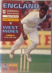 England V West Indies Test Match 1995, Lord's together with scorecard