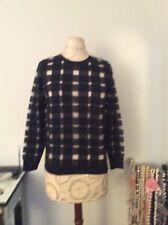 New Banana Republic Women Navy & Silver Gingham Checks Pullover Sweater SZ XS