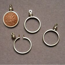 Canadian PENNY / 1 cent Coin Holder Bezel Silver Tone charm, necklace Pack/4