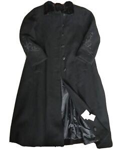 Les Modes Ellabee Ladies Wool Long Embroider Coat Size UK 14 LAGENLOOK