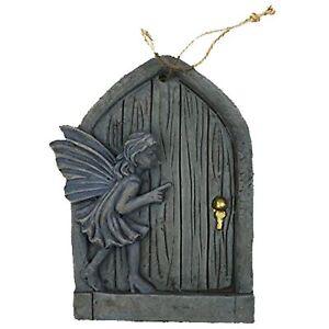 Garden Hanging Fairy Door Wall Plaque with Blue Fairy