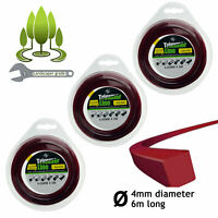 4mm Square Strimmer Line Spool Refill Long 4.0mm 6m for STIHL Trimmer x 3