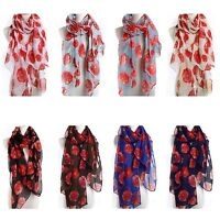 Poppy Print Floral Ladies Fashion Maxi Scarf Wrap Sarong Long Soft Warm