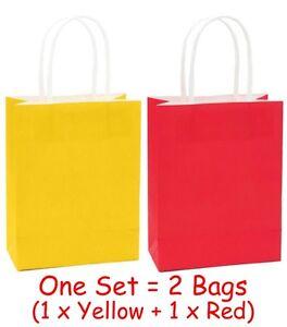 Elmo Sesame Street Party Kraft Paper Handled Loot/Party Bag - Red & Yellow 2pk