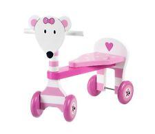 Triciclo PINK MOUSE in Legno Cavalcabile cm 45x40x20 per bambini Primi Passi Età
