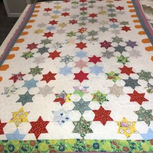 Vintage Hand Sewn Patchwork Quilt Twin Sz Multicolor Star Pattern Cutter Repair