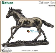 Horse Galloping, Cold Cast Bronzed Resin, Horse Sculpture Figurine Veronese 6074