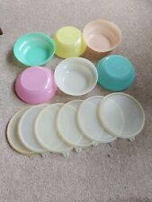 Tupperware Irlando Vintage Plastic Sealable Bowls X 6 With Matching Lids Pastel
