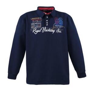LAVECCHIA Herren-Sweat-Shirt mit Polokragen blau Übergröße 3XL,4XL,5XL,6XL,7XL,8