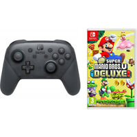 Nintendo Switch Wireless Pro Controller and Super Mario Bros U Deluxe Bundle