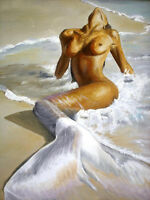 ZWPT218 hand-painted Sexy young Mermaid girl oil painting wall art on canvas