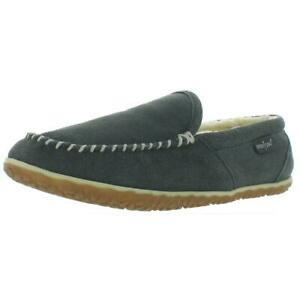 Minnetonka Mens Tilden Gray Moccasin Slippers Shoes 11 Medium (D) BHFO 7937