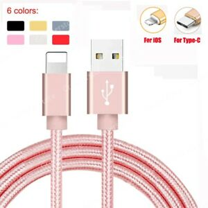 1M 2M 3M USB Data Charger Charging Cable fit for iPhone 7 8 X 11 Samsung Type-C