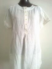 Eco White Linen Cotton Blend Tunic Top Shirt Dress Utility 12 Medium Ethical
