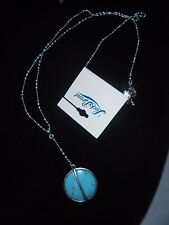 Tone,Turquoise, Long Necklace. Lucky Brand Authentic Silver