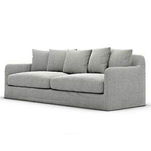 "92"" Liborio Indoor Outdoor Grey Olefin Lounge Sofa Box Rectangular Modern Sleek"