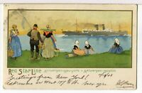 1908 - Red Star Line, Antwerp-New York & Boston Painting - Postcard Signed