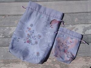 Set of 2 bird gift bags. Matching reusable with cotton lining and drawstring.
