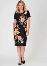 Black floral Beaded ribbed neck detailed Short sleeve desk to dinner DRESS 20