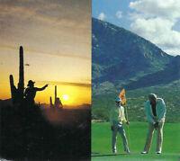 Vintage 1985 Sheraton Tuscon El Conquistador Gold Tennis Resort Postcard Cactus