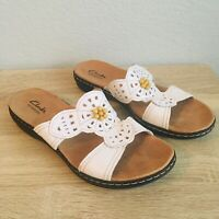Womens Clarks Bendables White Leather Floral Sandals Slide Ons Size 9M