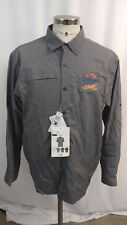 Mens Miller Genuine Draft Long Sleeve Button Up Shirt Large L Embroidered Logo