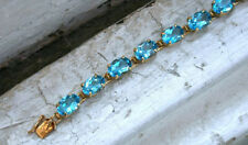 18 Ct Oval Blue Topaz Prong Set Link Bracelets Gift 4 Her 14K Yellow Gold Over