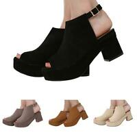 NEW WOMENS LADIES OPEN TOE BLOCK HEEL ANKLE STRAP SANDALS SHOES SIZE 3-8