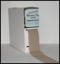 IRON ON FABRIC REPAIR MENDING TAPE 35MM FOR CLOTHING – BEIGE– SOLD BY THE METRE