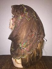 Brown Long Scarf Hijab Wrap Sheer pretty and fashionable w/multi color sequins