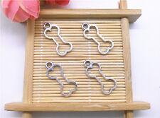 Wholesale 12pcs Tibet Silver Hollow Dog Bones Charm Pendant Beaded Jewelry 97