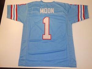 UNSIGNED CUSTOM Sewn Stitched Warren Moon Blue Jersey - M, L, XL, 2XL, 3XL